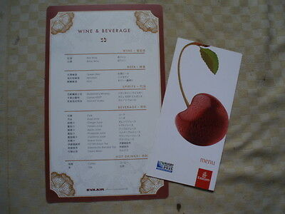 2 x airline menu drinks cards, EVA and Emirates as scan