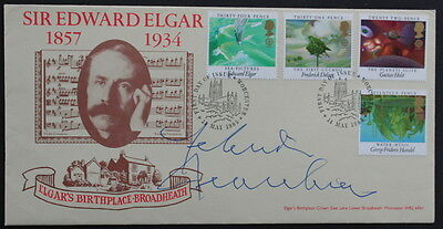 Yehudi Menhuin signed Elgar FDC with 4 musical stamps FDI franking