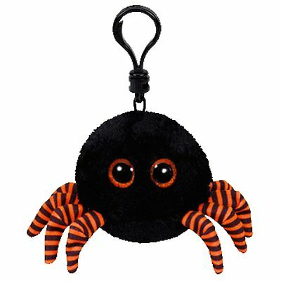 Ty Halloween Beanies Babies Spidey the Black Spider Bag Clip Plush