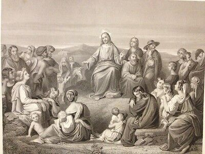 1850s Bible Engraving - The Sermon On The Mount - C. Begas - F Holl - Blackie