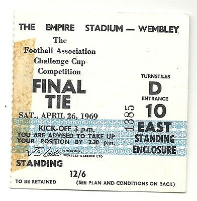 LEICESTER CITY v MANCHESTER CITY  26.04.69 FA CUP FINAL USED TICKET STUB