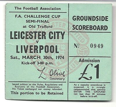 LEICESTER CITY v LIVERPOOL  30.03.74 FA CUP SEMI FINAL USED TICKET STUB