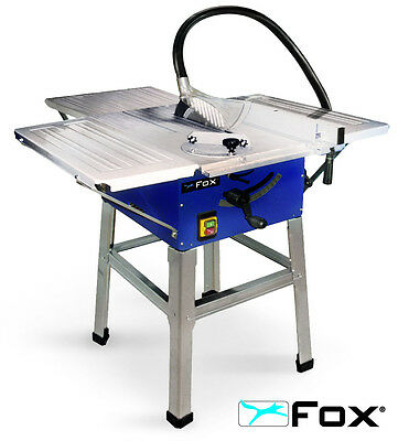 """FOX F36-522E 10"""" 250mm 1800W Bench Table Saw With Extensions, Stand & TCT Blade"""