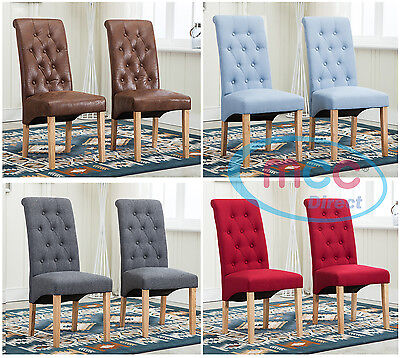 Lined Fabric Dining Chairs Roll Top Scroll High Back home&commercial restaurants