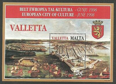 Malta 1998 Treasures Art Ships City Of Valletta From An Old Print M/sheet Mnh