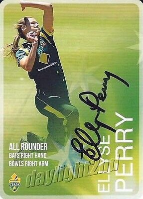 ✺Signed✺ 2014 2015 AUSTRALIAN Cricket Card ELLYSE PERRY Big Bash League Sixers
