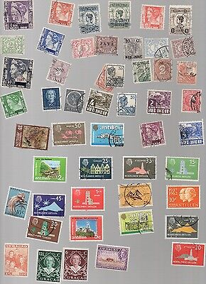 Netherlands Colonies on Stamps - 50 All Different and Off Paper
