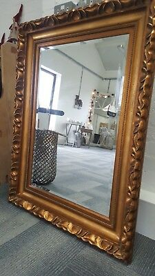 Very Large Stunning Heavy Antique Gold Gilt Frame Mirror