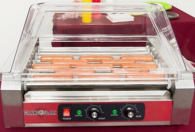Hot Dog Roller Grill 24 Capacity With Cover Sneeze Guard Concession Countertop
