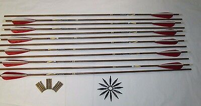 """Dozen Easton Axis Traditional hunting Arrows with 4"""" feathers field pointsBRASS"""
