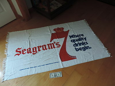 Seagram's 7 Crown Beach Towel Vintage Sign Wall Hanging Banner Seagrams (b136)
