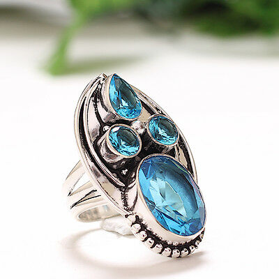 Blue Topaz 925 Sterling Silver Jewelry Ring 6.5