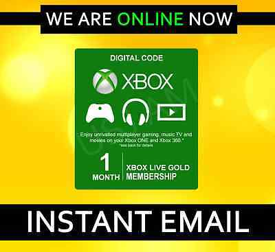 Xbox Live 1 Month Gold Membership Subscription For Microsoft Xbox 360 / Xbox One