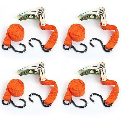 """Set of 4 Ratchet Straps Brand New 1"""" (25mm) wide x 15' (4.55m) long"""