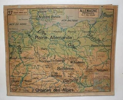 LARGE French MAP of GERMANY 1950s Vintage Wall School Library VIDAL LABLACHE