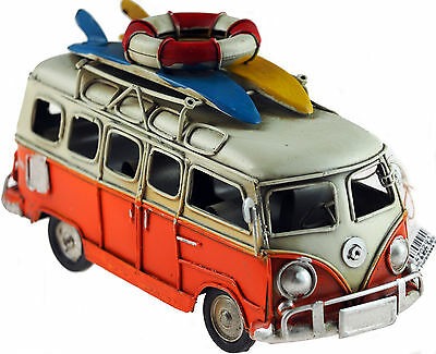 VW Camper Van 16cm Model Metal Ornament With Surf Boards - Orange