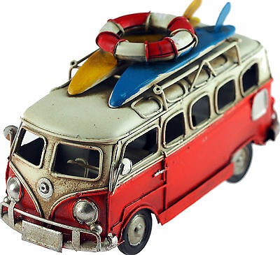 VW Camper Van 16cm Model Metal Ornament With Surf Boards - Red