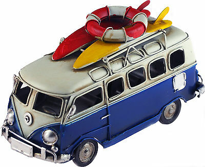 VW Camper Van 16cm Model Metal Ornament With Surf Boards - Navy Blue