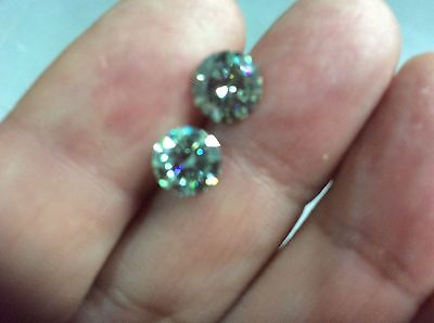PAIR TCW 1.64   6.40 mm VVS1  Vivid Blue Color Round Loose Moissanite US SELLER