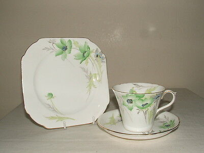 Shelley Art Deco Perth Shaped Green Poppies Tea Trio Truly Stunning