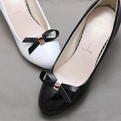 Cute Small Fashion Women Black Bow Shoe Clips Accessories