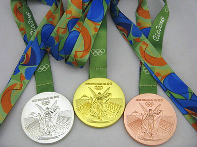 Rio 2016 Olympic Gold/Silver/Bronze Medals/Ribbons Set **Free Shipping**