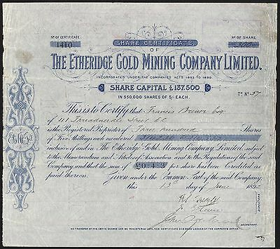Australia: Etheridge Gold Mining Co. Ltd., Queensland, 5/- shares, 1892