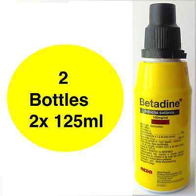 BETADINE Povidone Iodine First Aid Antiseptic Solution UP 2x 125ml FREE SHIPPING