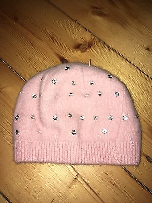 Children's Pink Wool And Sequin Beanie HAT Great Christmas