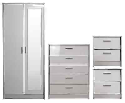 White/White Gloss 2 Door Mirrored Bedroom Furniture Wardrobe Chest 2xBedside 4Pc