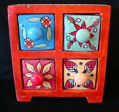 Vintage Mexican Folk Art SPICE BOX jewelry WOOD Pottery 4 Drawers TALAVERA