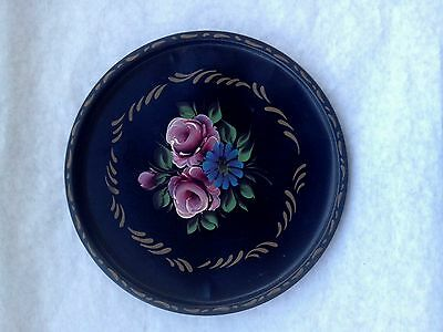 NASHCO PRODUCTS Toleware round tin tray hand painted vintage black mid century