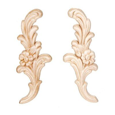 Floral Pair Wood Appliques-Wood Crafts-Decorative Wood-2pcs
