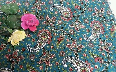 "Vintage Wool/Cotton Green Paisley Fabric 100"" x 35"""