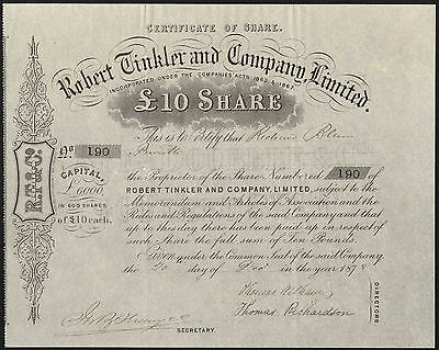 Penrith: Robert Tinkler and Co. Ltd., £10 share, 1878, churn manufacturer