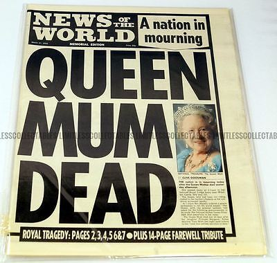 Queen Elizabeth Death Newspaper News of the World 31 March 2002 The Queen Mother