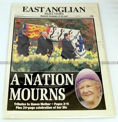Queen Elizabeth Death Newspaper EADT 1st, 3rd, 9th, 10th April The Queen Mother