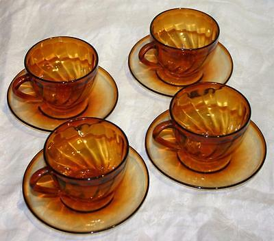 4 x Vintage Arcoroc French Brown Smoked Glass Tea / Coffee Cups and Saucers