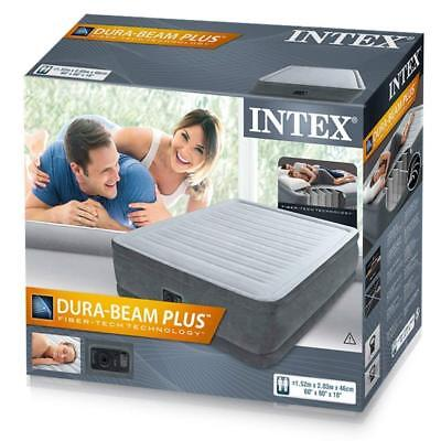 Intex 64414 Comfort Plush Elevated Luftbett 230V mit Pumpe 152 x 203 x 46cm