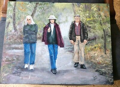 """""""Park Strollers"""" Original Signed Oil Painting By Listed  MA Artist Thomas Eaton"""