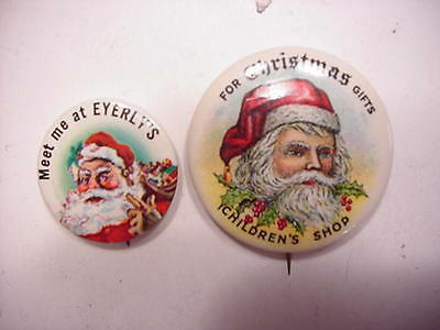 2 Vintage Celluloid Santa Claus Christmas Pin Back Buttons
