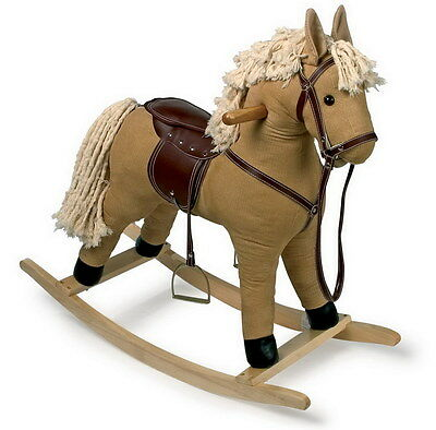 Children's Toy Textile Stuffed Corduroy Neighing Rocking Horse Wood Rocker