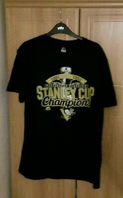 Pittsburgh Penquins Majestic NHL Ice Hockey Champions T shirt tee M Steelers NFL
