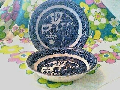 CLEARANCE-was 15$-Blue willow ANTIQUE Made in England 2 serving bowls- imperfect