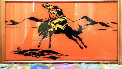 INTERESTED?BEST OFFER-Reverse painted tray-Mexican on a horse,glass-wood-metal