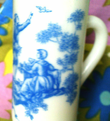 SALE-Long slim Avon teacup milk glass and blue victorian toile