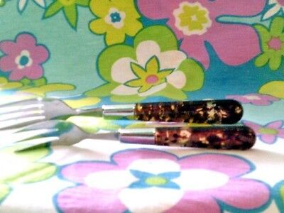2 Lucite forks-big and salad size-brown/clear/stainless steel