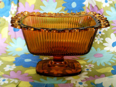 FTDA 1982 Amber glass planter with lace glass trim GVC