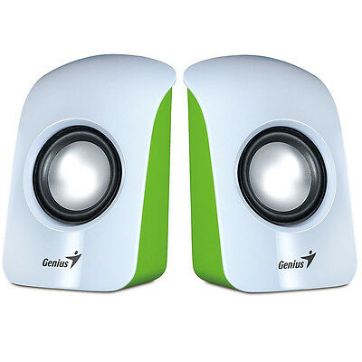 Genius Sp-U115 White & Green Usb Powered Stereo Speakers For Pc Laptop Computer