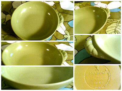 Melmac sage green bowl with cute handle detail GVC